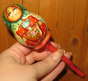 Matryoshka Baby Child Rattle Russian Doll HAND PAINTED Unique CHRISTENING GIFT