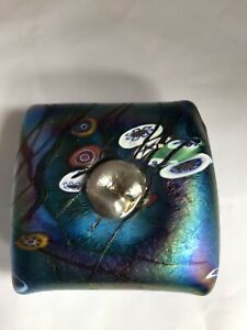 John Ditchfield Glassform Silver Cat  Seated on A Cushion .Signed.
