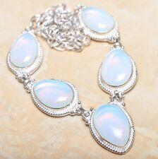"Handmade Rainbow Opalite Jasper Gemstone 925 Sterling Silver Necklace 20"" N00989"