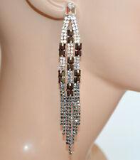 ORECCHINI ARGENTO NERI GRIGIO donna pendenti strass cristalli fili cerimonia N22