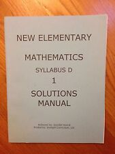 New Elementary Mathematics - 1 Solutions Manual (Syllabus D)