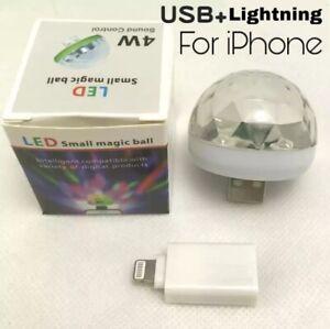 Mini USB LED Disco DJ Stage Light Portable Family Party Ball Light For iPhone
