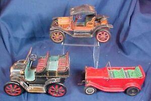 3 Vintage Tin Cars Modern Toys Japan Lever Action Alps Model T