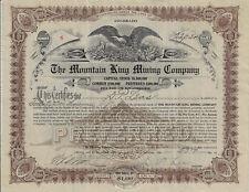 COLORADO 1912 The Mountain King Mining Company Stock Certificate #6