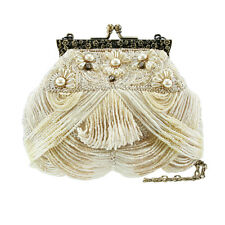 Mary Frances Victorian Mini Cream White Ecru Pearl Beaded Handbag Purse Bag New