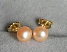 New AAAA 6-7mm natural South Sea pink Pearl Earrings 14K