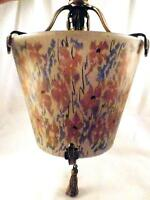 Art Nouveau Ceiling Lamp Frosted Glass Shade Pink Blue Flowers Fixture Tassel