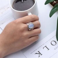 Women Rainbow Moonstone Ring Oval Sterling Natural Gemstone Silver Jewelry