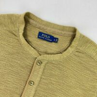 Polo Ralph Lauren Men's Long Sleeve Thermal Henley Shirt Green • Large