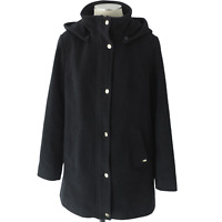Ellen Tracy Womens Snapped Button Hidden Zip Black Hooded Jacket Size 4