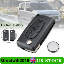 3 Button Key Fob Shell VA2 & Battery Fit Citroen Berlingo Peugeot Partner Van