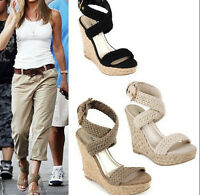 BOHO Womens High heels Sandals Platform Ankle Strap Beach Summer Casual Shoes