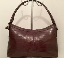 3c0819163795 Vintage Mulberry Brown Reptile Print Leather Hobo Shoulder Bag VVGC