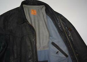 HUGO BOSS Gr.48 M Orange Label Jados Lederjacke Schwarz Büffelleder Jacke 38R