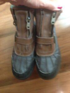 POLO SPORT RALPH LAUREN Men's Boys Hiking 8 inch brown Boots Sz 5 Leather