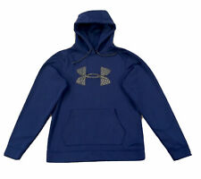 Under Armour Cold Gear Hooded Unisex Sweatshirt Size Med Blue W/ Gray Logo New