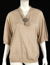 VALENTINO Beige Cotton Flower Brooch Detail Short Sleeve Knit Sweater L