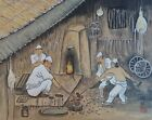Fine Korean Hand Painting Black Smith Working Signed Chop Stamp