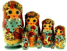 Gorgeous Unique Matrioshka Nesting Dolls Hand Panted 7pc Clay Troika Signed