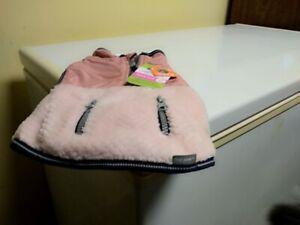 Small Dog Coat. Reflective Pink, Blue Trim.