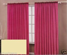 TWO Panels CHECKED Texture Rod Pocket SHEER VOILE Fabric Curtain Set - BEIGE
