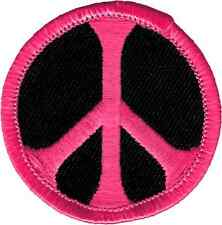51094 Hot Pink Black Peace Sign Badge Hippie Sixties Love Mini Sew Iron on Patch