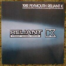 Original 1981 Plymouth Reliant K Sales Brochure 81