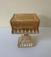 JEANETTE Marigold Carnival Glass Square Compote Candy Dish Pedestal VINTAGE EUC