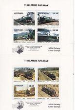 Train stamps Australia 1993 THIRLMERE railways pair of mini sheets JAKARTA 95