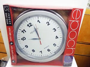 "EPOCH 13"" WALL CLOCK- SILVER SURROUND- WITH LED LIGHT"