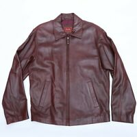 JACOB COLLECTION MEN'S BURGUNDY LEATHER JACKET SIZE S