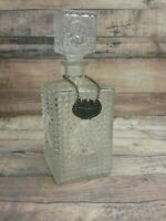 Vintage Square Hobnail Glass Decanter w/ Metal Gin ~ Scotch Chain and Stopper