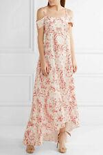 £910 NEW VILSHENKO ELVIRA 10 Fleur De Lis Silk Crepe Cold Shoulder Maxi Dress
