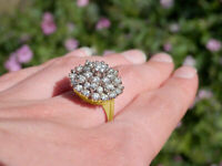 2 Ct Round Cut Diamond Women Vintage Cocktail Cluster Ring 14K Yellow Gold Over