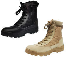 MENS COMBAT STYLE WORK PATROL MILITARY CADET ARMY SHOES COWBOY BIKER ANKLE BOOTS