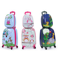 2Pc Carry On Luggage With Wheels Kids Rolling Suitcase Backpack Cute Travel Set