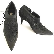 Newport News Size 6B Black Sequin High Heel Ankle Boots Booties Shoes Pumps