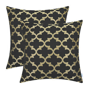 2Pcs Black Gold Cushion Covers Pillows Shell Trellis Geometric Home Sofa 45x45cm