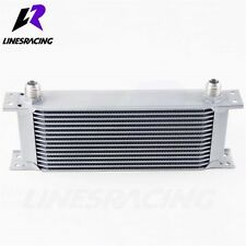 22 Row Universal -AN10 7/8″ UNF14 Engine Transmission Oil Cooler Kit Silver