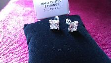 PRINCESS CUT Silver-tone Halo CZ Pierced Stud Earrings Avon Fashion NEW Boxed