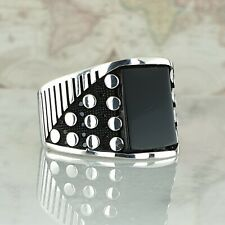 Solid 925 Sterling Silver Black Onyx Gemstone Mens Ring HandMade Ottoman Style