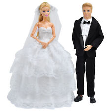 E-TING Wedding Gown Dress Clothes + Formal Suit Outfit For Barbie Ken Doll A