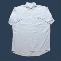 Mens Vintage Lacoste Shirt XL Blue Short Sleeve Cotton