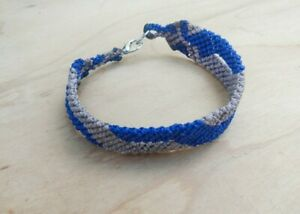 Handmade Macrame Bracelet - Blue, Grey