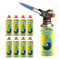 Butane Blow Torch Burner Head Gas Cooking Piezo Ignition Tool With Gas Refills