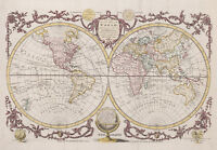 "Beautiful Vintage Old World Map 1782 CANVAS PRINT 16""X12"" Baldwyn Poster"