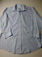 Brooks Brothers 346 Mens Slim Fit Dress Shirt Sz 17 2/3 Blue Striped Non Iron A