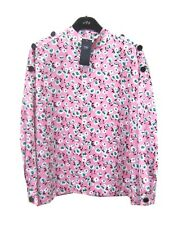 Marks & Spencer Pink Silky Floral Blouse Top Plus Size 18 With Long Sleeves