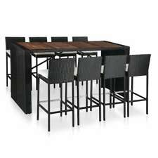 vidaXL 9 Piece Outdoor Bar Set Poly Rattan and Acacia Wood Black Table Chair