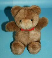 "1989 GUND TENDER TEDDY BEAR 8"" Brown Plush Red Bow Vtg Stuffed Karitas Soft Toy"